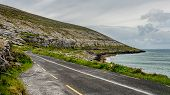 Beautiful View Of The Rural Coastal R477 Road Along ​​the Burren, Geosite And Geopark, Wild Atlantic poster