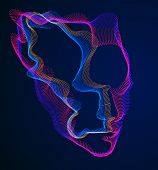 Digital Soul Of Machine, Artificial Intelligence Software Visualization Of Human Head Made Of Dotted poster