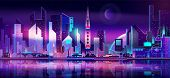 Future Metropolis On Seacoast, Extraterrestrial Space Colony City Flat Vector With Futuristic Skyscr poster