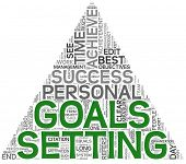 stock photo of goal setting  - Goals setting concept in word tag cloud on white background - JPG