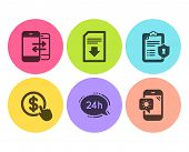 Privacy Policy, Buy Currency And Download File Icons Simple Set. Phone Communication, 24h Service An poster