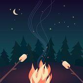 Marshmallow Roasting Hand Drawn Flat Color Vector Icon. Marshmallows On Skewers In Night Camping Fir poster