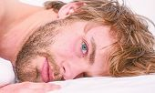 Simple Tips To Improve Your Sleep. Total Relax Concept. Man Unshaven Bearded Face Sleep Relax Or Jus poster