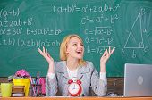 School. Home Schooling. Happy Woman. Teacher With Clock At Blackboard. Back To School. Teachers Day. poster