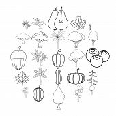 Greenery Icons Set. Outline Set Of 25 Greenery Icons For Web Isolated On White Background poster