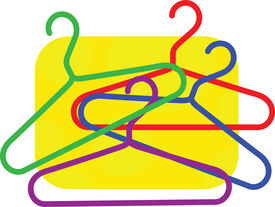 picture of clothes hanger  - Painting of cloth hanger with colour pattern isolated on yellow background - JPG