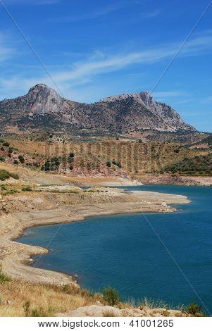 Lake and mountains, Zahara de la Sierra, Andalusia.
