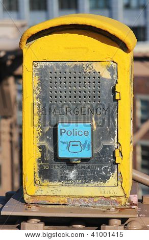 Emergency Reporting System box with  NYPD button