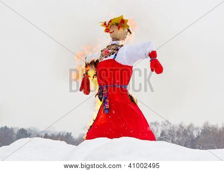Shrovetide. Farewell To Winter, Effigy Burning.