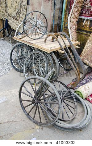 Trishaw Wheels In Delhi Bazaar, India