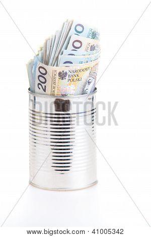 Polish Money Savings In Metal Can
