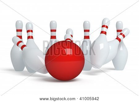 Bowling ball crashing into the pins