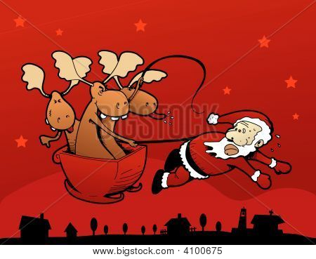 Rebel Reindeers! Santa Claus Pulling The Sleigh!