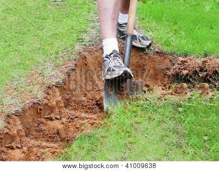 Man digging a hole