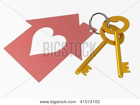Golden House Keys With Red Heart Shape House Icon Illustration Isolated On White Background