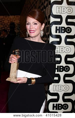 LOS ANGELES - JAN 13:  Julianne Moore arrives at the 2013 HBO Post Golden Globe Party at Beverly Hilton Hotel on January 13, 2013 in Beverly Hills, CA..