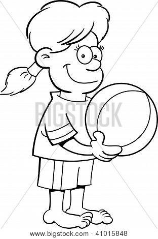 Cartoon girl with a beach ball