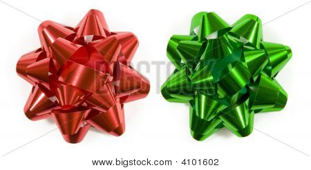 Red And Green Gift Bows