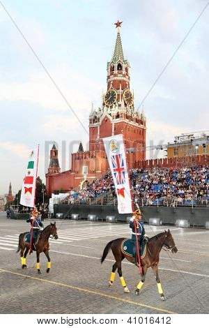MOSCOW - AUGUST 31: Riders of cavalry honorary escort of Presidential Regiment at Military Music Festival Spasskaya Tower on August 31, 2011 in Moscow, Russia.