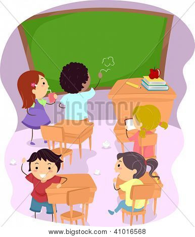 Illustration of School Children Making a Mess Out of a Classroom