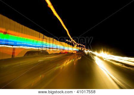 Motion blur street light
