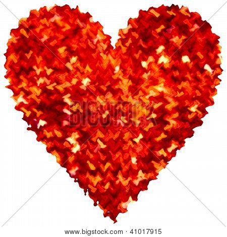Red Abstract Heart Love Isolated