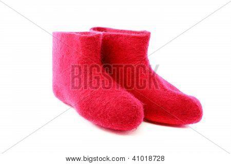 Short Pink Felt Boots.