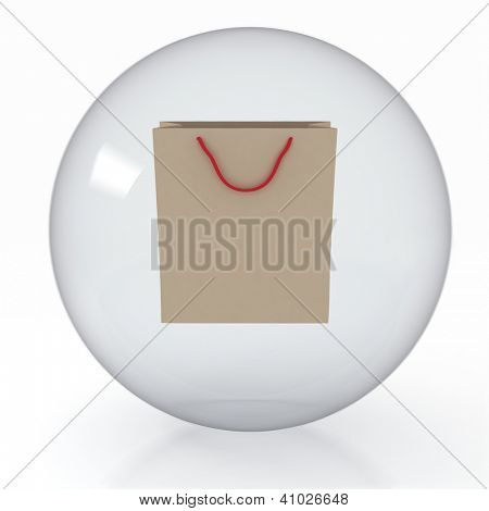 paper shoppingbag in transparent sphere  on white background