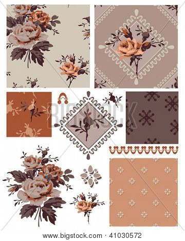 1940's Vector Seamless Floral Patterns and Icons. Use as fills, digital paper, or print off onto fabric to create unique vintage items.