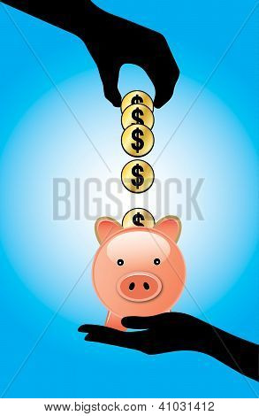 Hand silhouette adding a set of dollar coins into a piggy bank