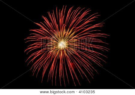 Single Burst Of Bright Red Fireworks