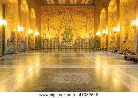 STOCKHOLM, SWEDEN - DECEMBER 23: Interior of Golden Hall of the Stockholm City Hall on December 23, 2012 in Stockholm, Sweden. The Golden Hall is the venue for the dance after the Nobel Prize banquet.