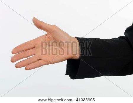 Closeup of female executive offering hand for handshake