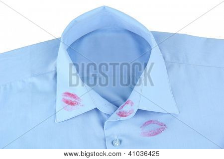 Lipstick kiss on shirt collar of man, isolated on white
