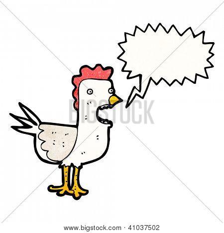 cartoon squawking chicken