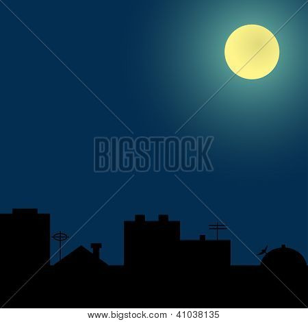 Background with silhouettes of roofs