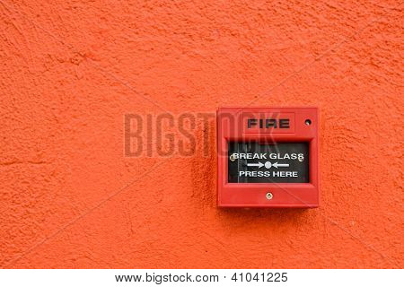 the Fire Alarm on orange background