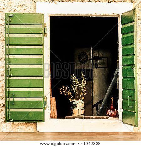 Green Window Shutters