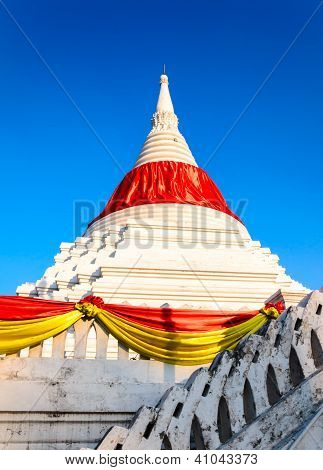 A Mon style marble carved pagoda at Wat Poramai Yikawat ...
