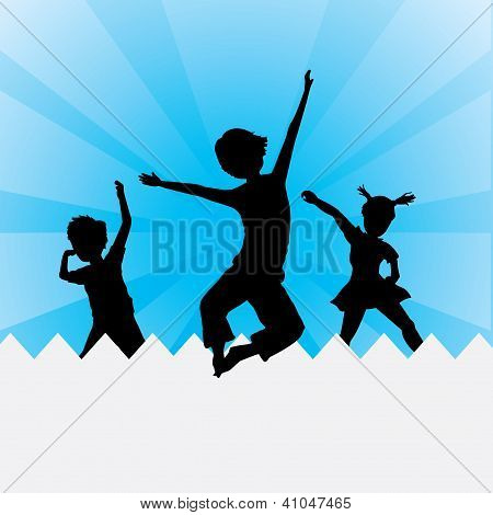 Three Silhouettes Kids Jumping