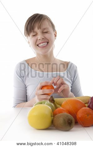 Image Of A Girl With Fruit