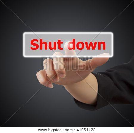 Woman Hand Touching Button Shut Down Keyword.