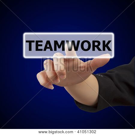 Woman Hand Touching Button Teamwork
