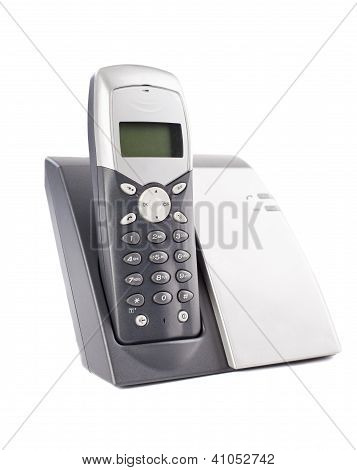 Cordless Phone Set On White Background