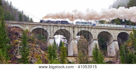 Semmering Railway. Aqueduct in the Austrian Alps.