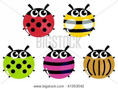 Colorful Cartoon Insects Set Isolated On White