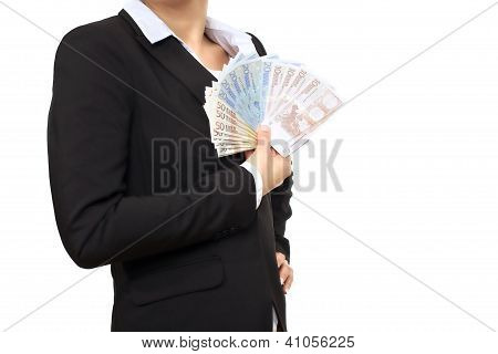 Banker In Business Suit With Euro Bills