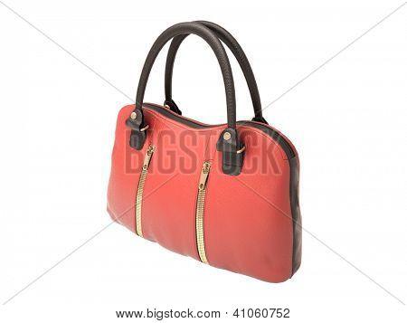 Women's red handbag isolated on white background