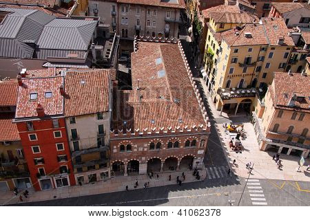 Historic Houses At The Piazza Delle Erbe In Verona
