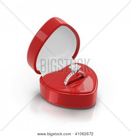 Isolated red ring box with silver ring on white background